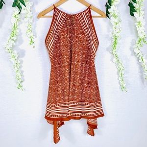 Studio M | tribal burnt orange sleeveless dress XS